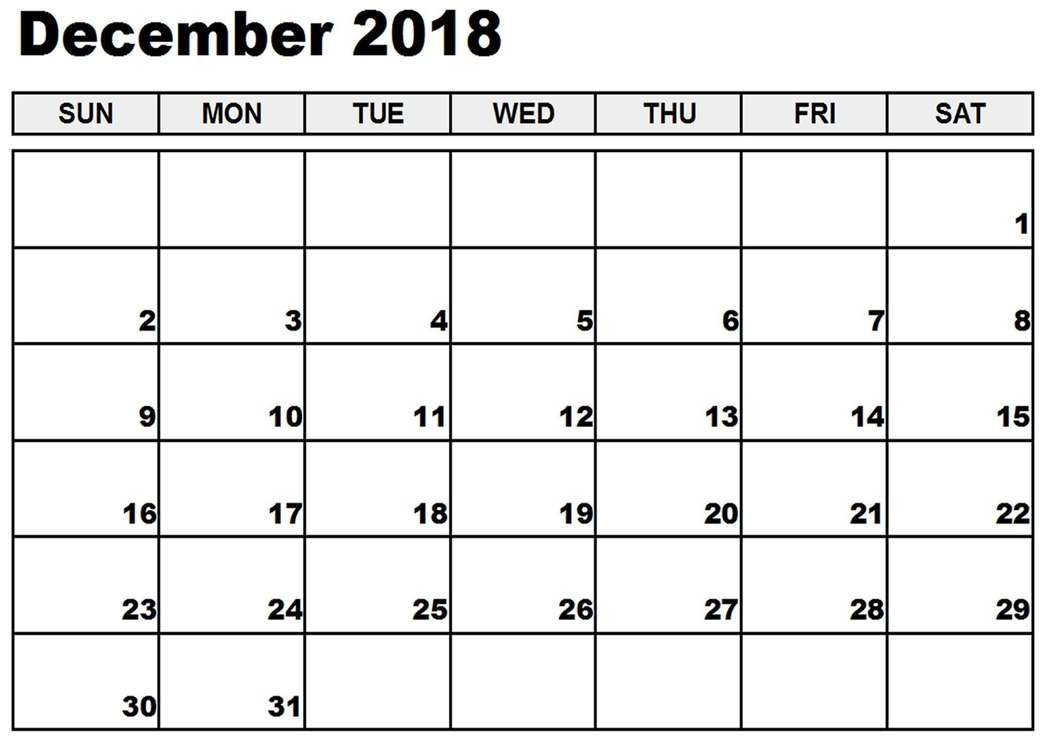 December 2018 Printable Calendar Notes To Do List Reminders-Printable Calendar Template With Notes