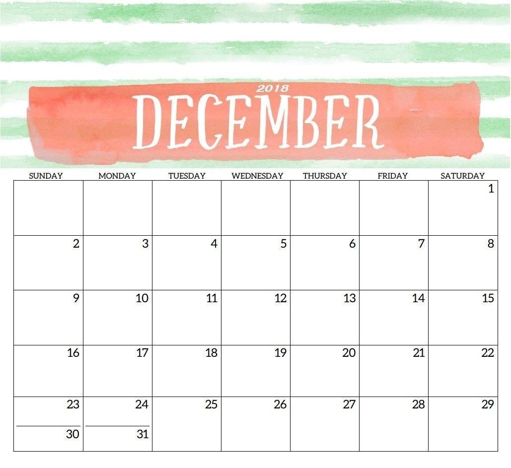 December 2018 Printable Calendar Template | Print Free-5X8 Calendar Templates To Print