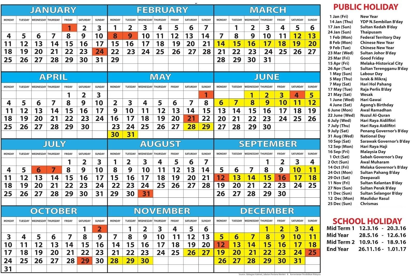 December 2019 Calendar Malaysia » Creative Calendar Ideas-2020 Calendar With Holidays Malaysia