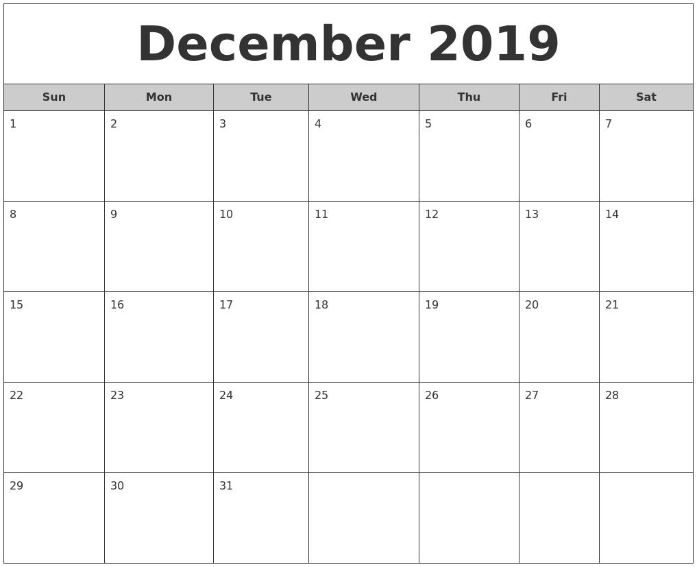 December 2019 Free Monthly Calendar-Monthly Calendar Monday Start Week