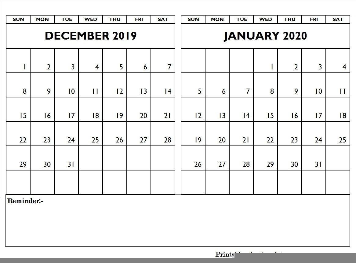 December 2019 January 2020 Calendar Editable | December 2019-January 2020 Yearly Calendar