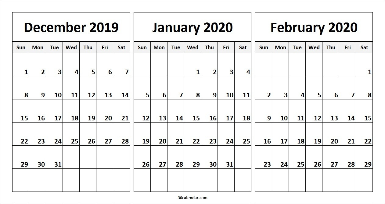 December 2019 January February 2020 Calendar | 3 Month Calendar-January And Feb 2020 Calendar
