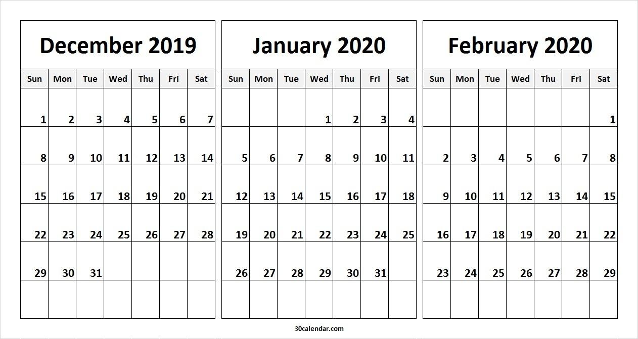 December 2019 January February 2020 Calendar | 3 Month Calendar-January And February 2020 Calendar