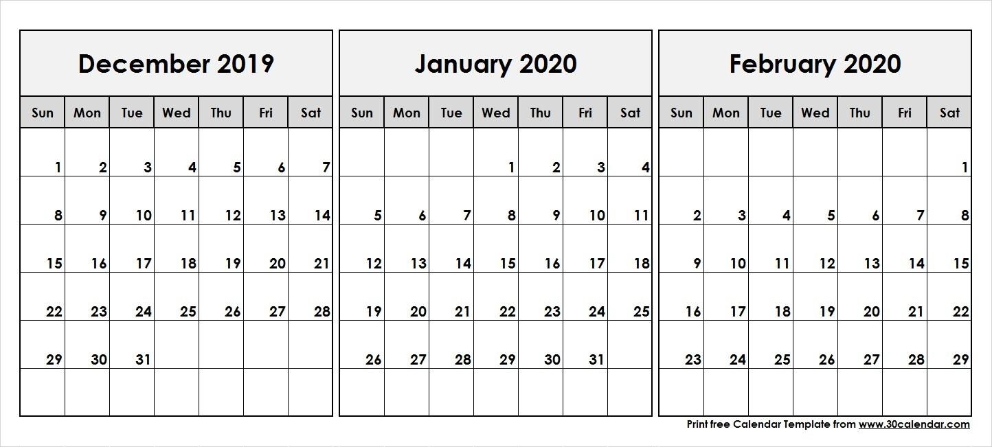 December-2019-January-February-2020-Printable-Calendar - 30-January And February 2020 Printable Calendar