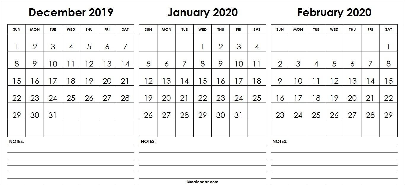 December 2019 January February Calendar 2020 | 3 Month Calendar-January And Feb 2020 Calendar