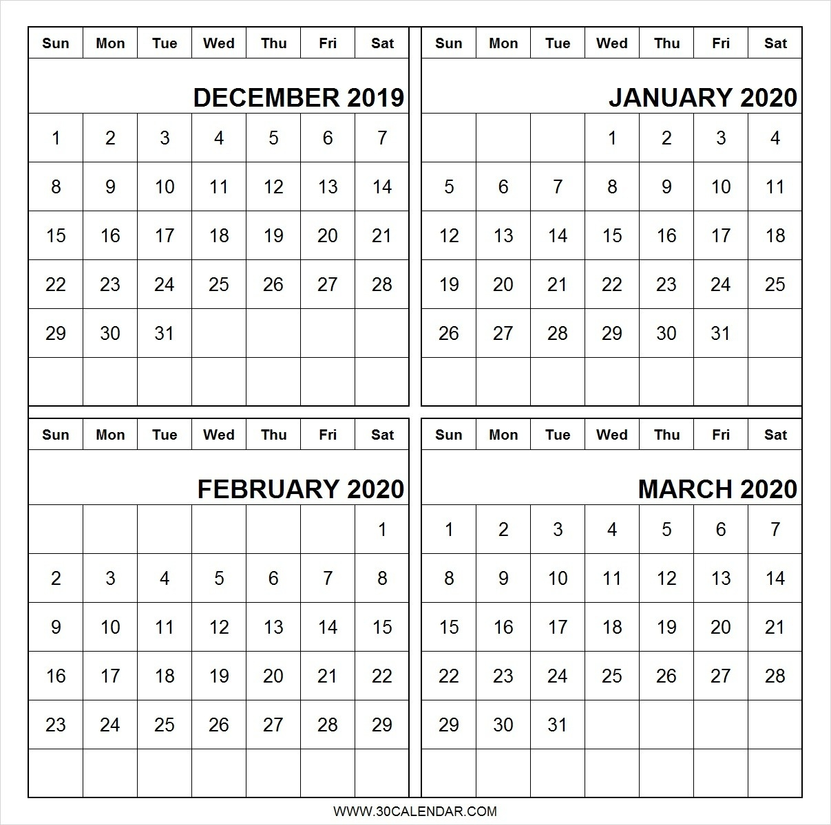 December-2019-January-February-March-2020-Calendar-Printable-2020 Calendar January February March