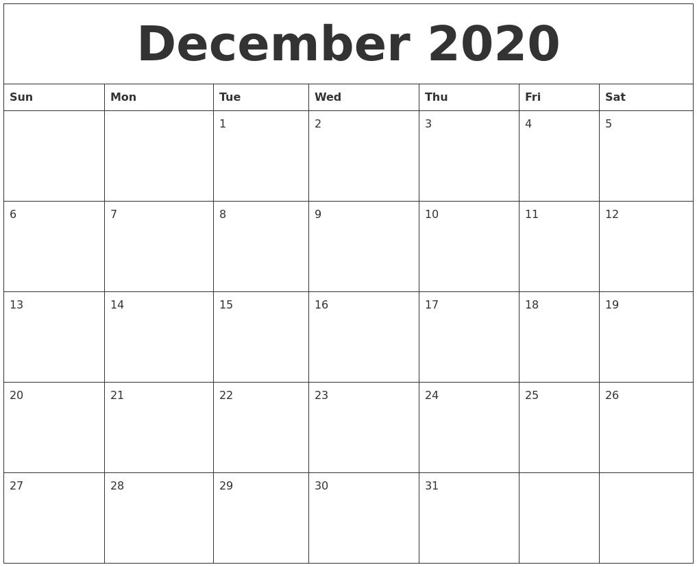 December 2020 Calendar-December 2020 And January 2021 Calendar