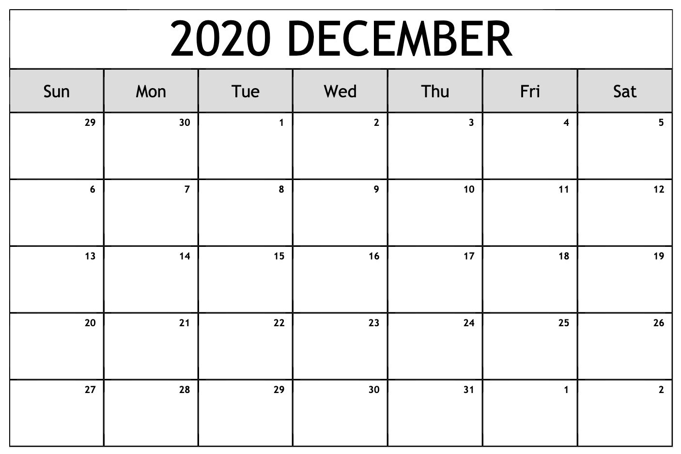 December 2020 Calendar Pdf, Word, Excel Printable Template-January 2020 Calendar In Excel