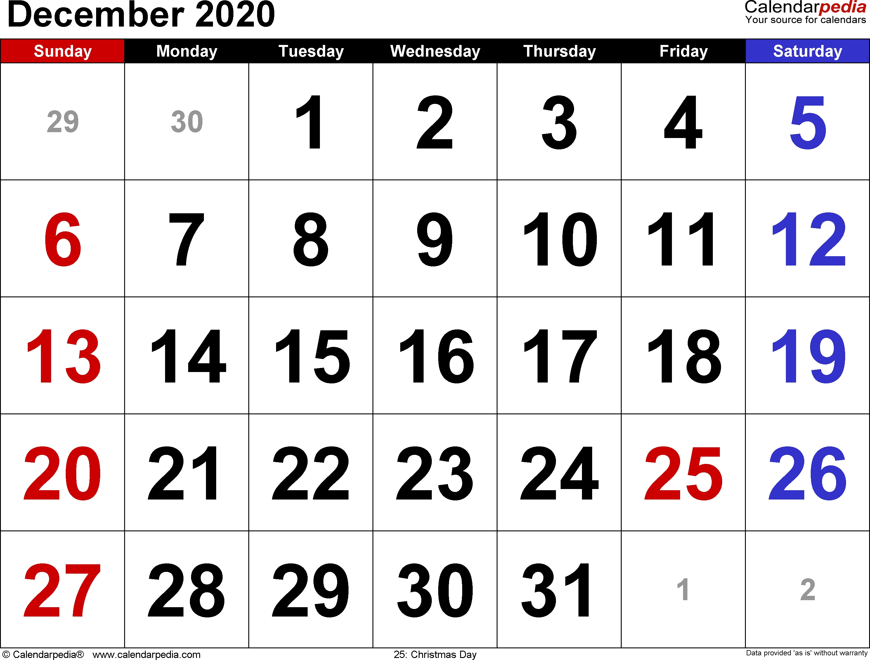 December 2020 Calendars For Word, Excel & Pdf-December 2020 And January 2021 Calendar
