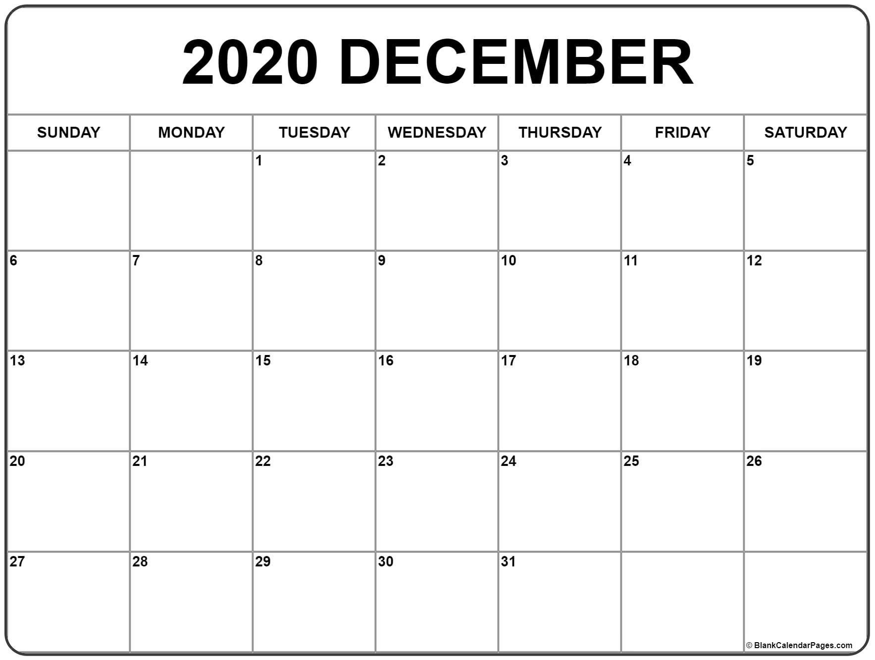 December 2020 Printable Calendar Template #2020Calendars-Blank Fill In Calendars 2020 Printable