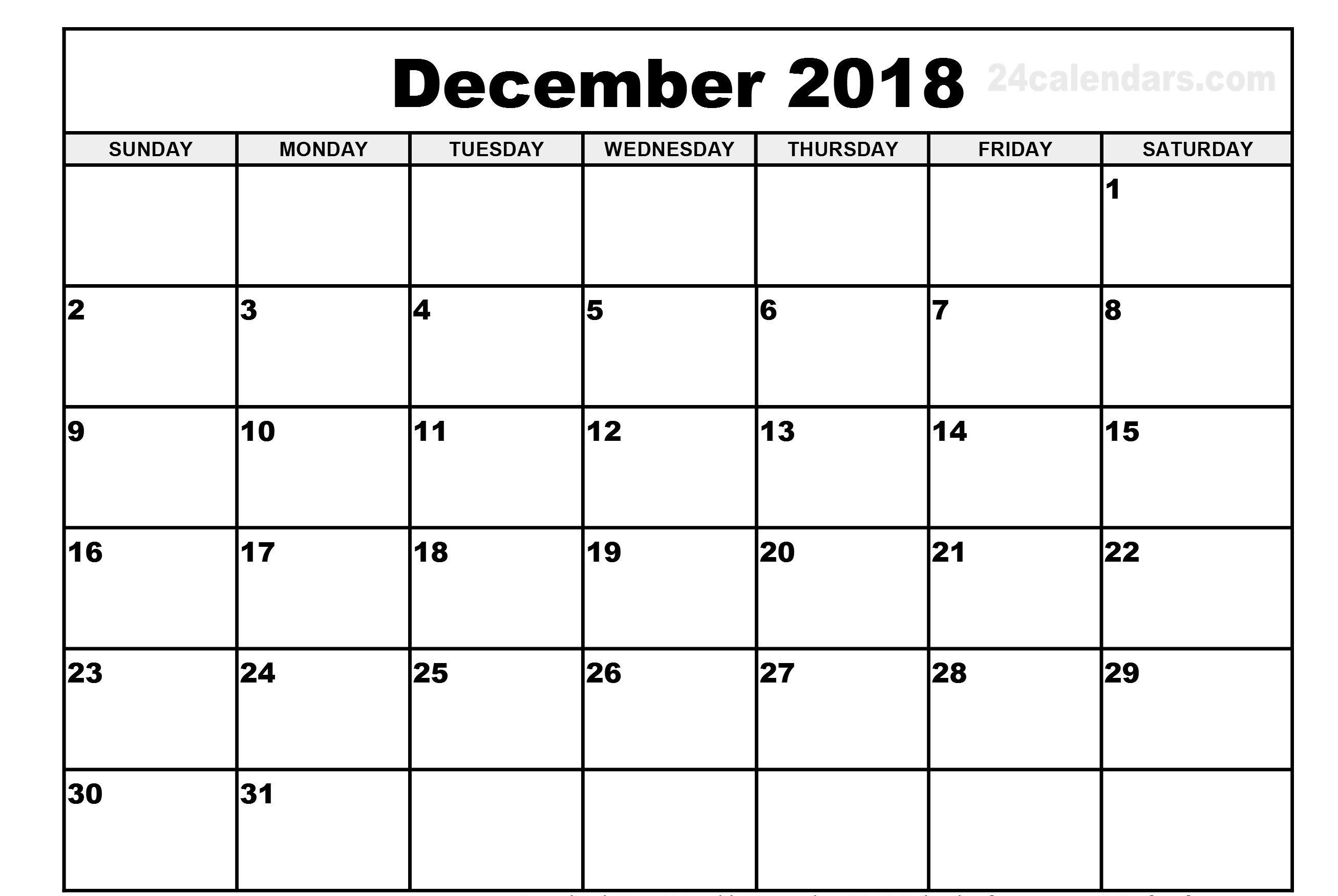 December Weekend Calendar 2018 Printable | Calendar Format-Calendar Template No Weekends