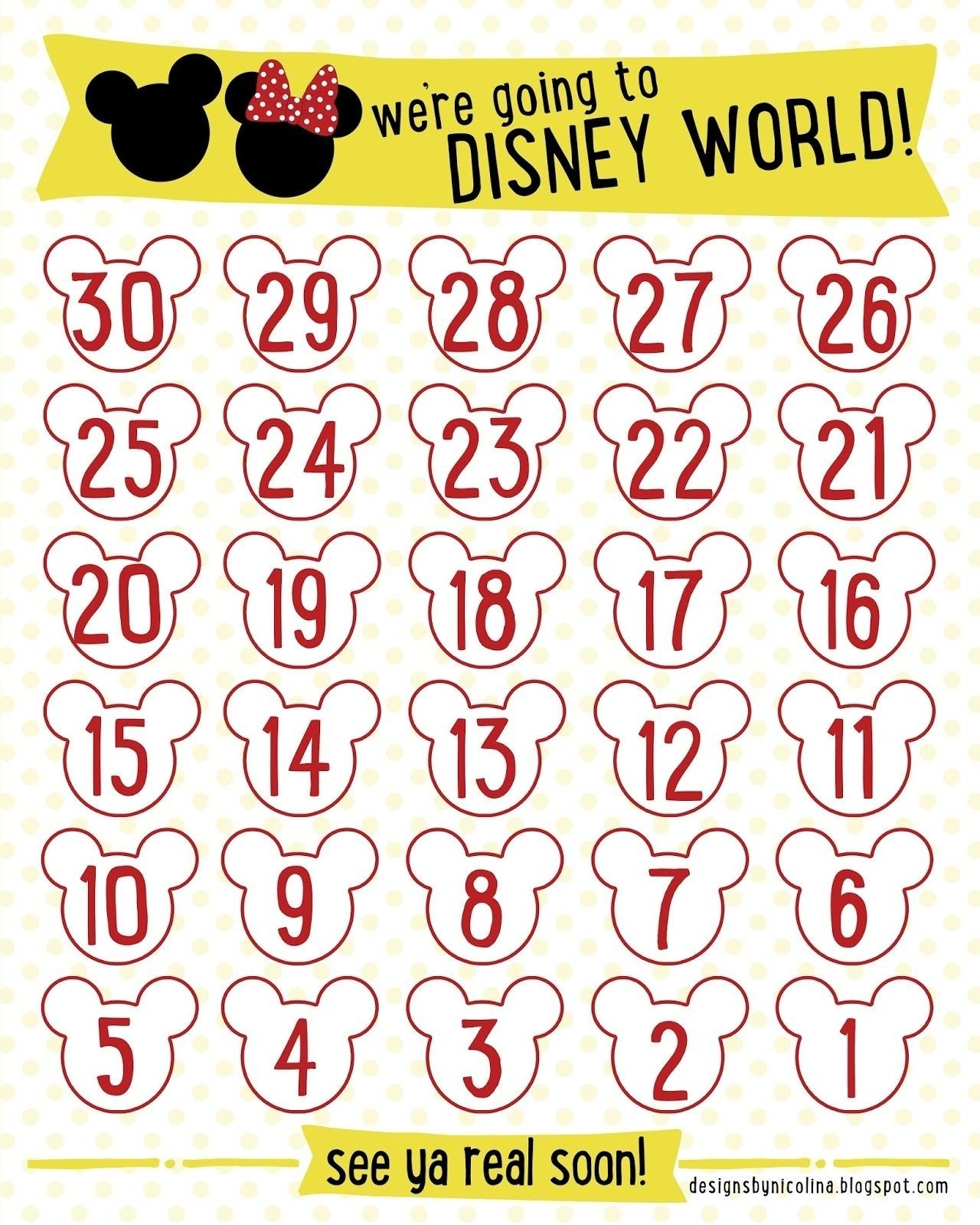 Designs Nicolina Disney Countdown Free Printable At Disney-Countdown To Disney Template