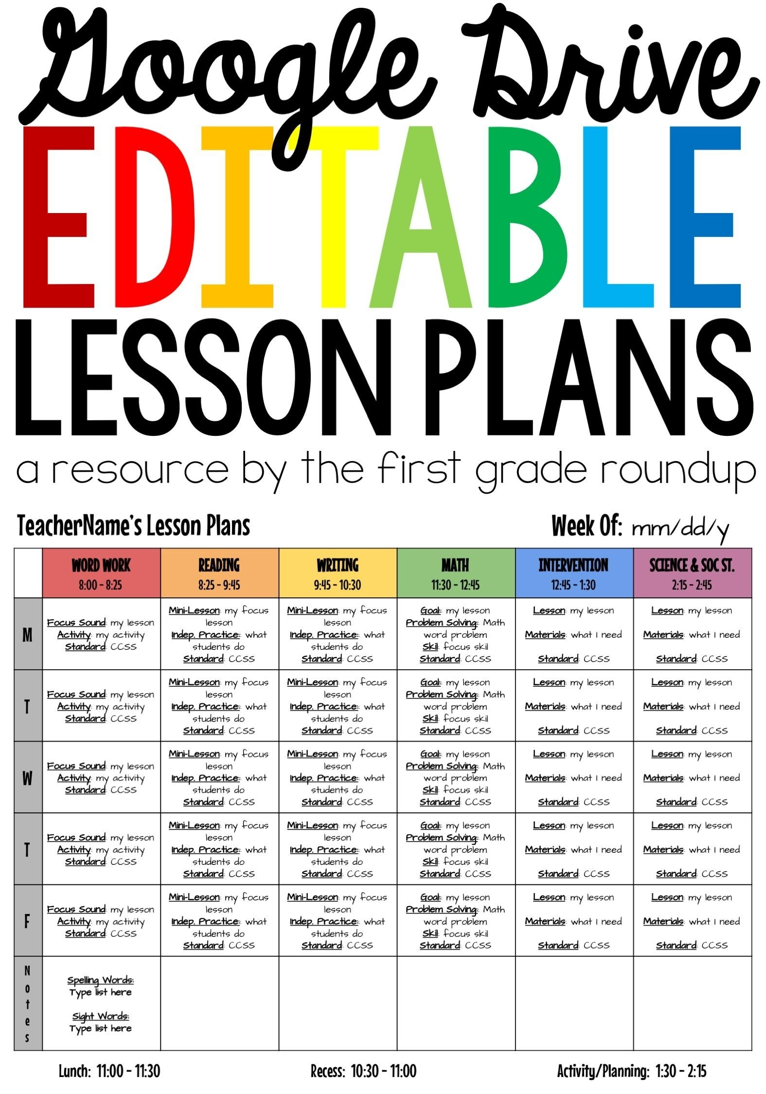 Digital Lesson Plan Template Editable Compatible With Google-Free Google Drive Planner Template