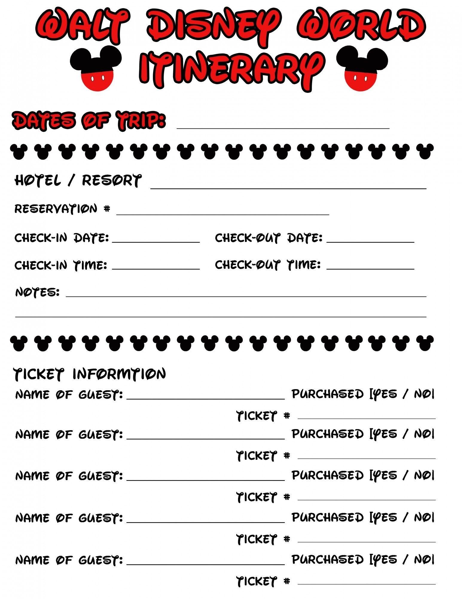 Disney Agenda & Itinerary Free Printable | Disney Vacation-Free Printable Disney Itinerary Template