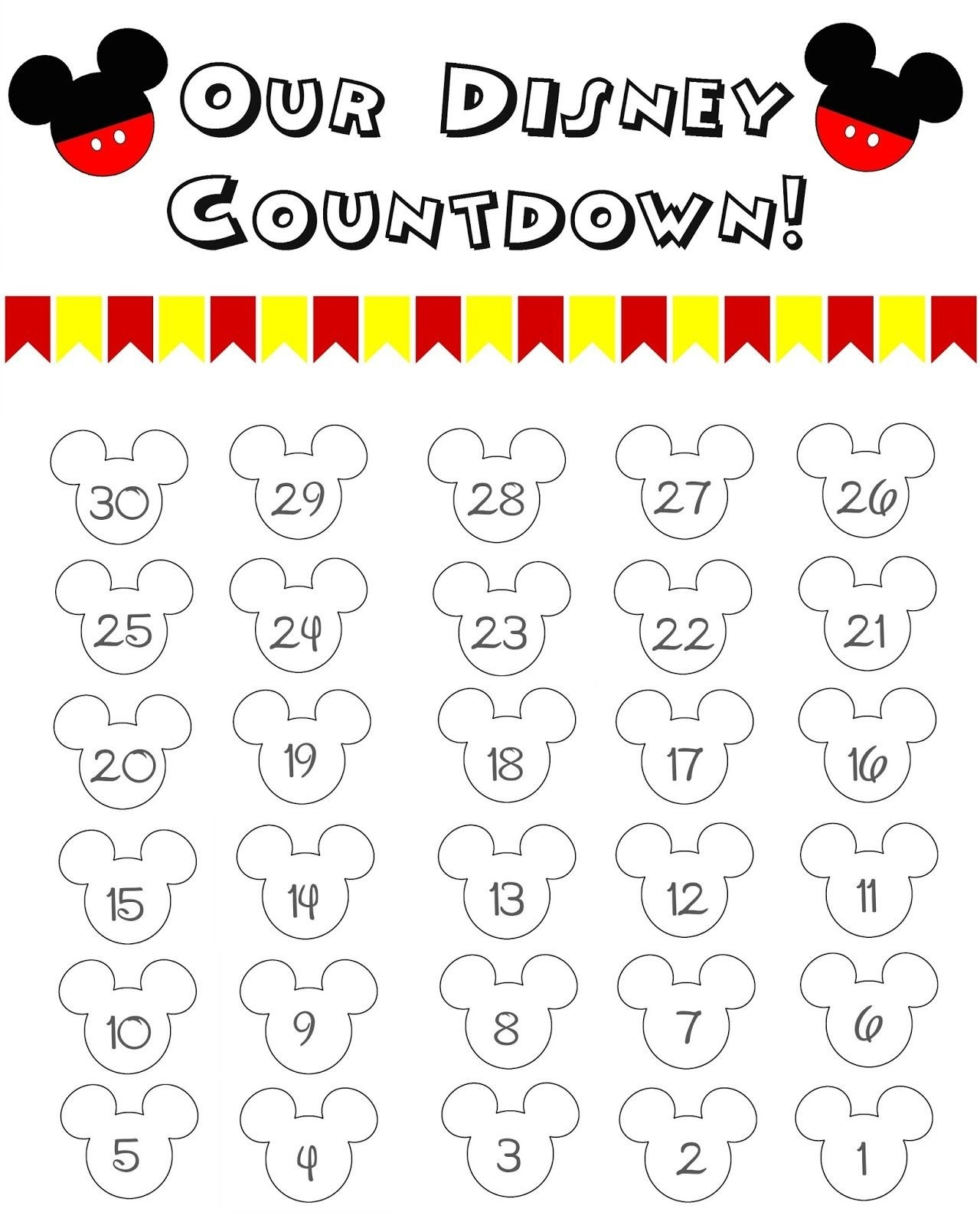 Disney World Countdown Calendar - Free Printable | The Momma-Blank Countdown Calendar 50 Days