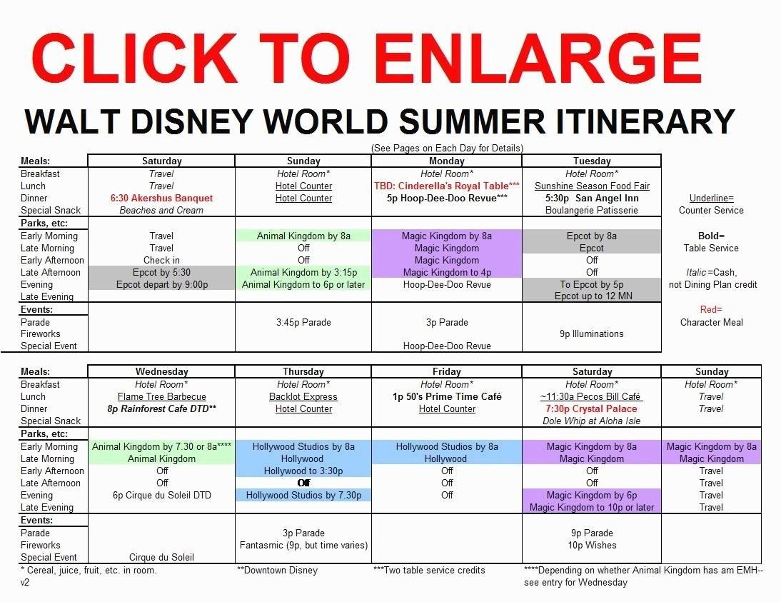 Disney World Itinerary Template 15 Disney World Itinerary-Template For Wdw Itinerary