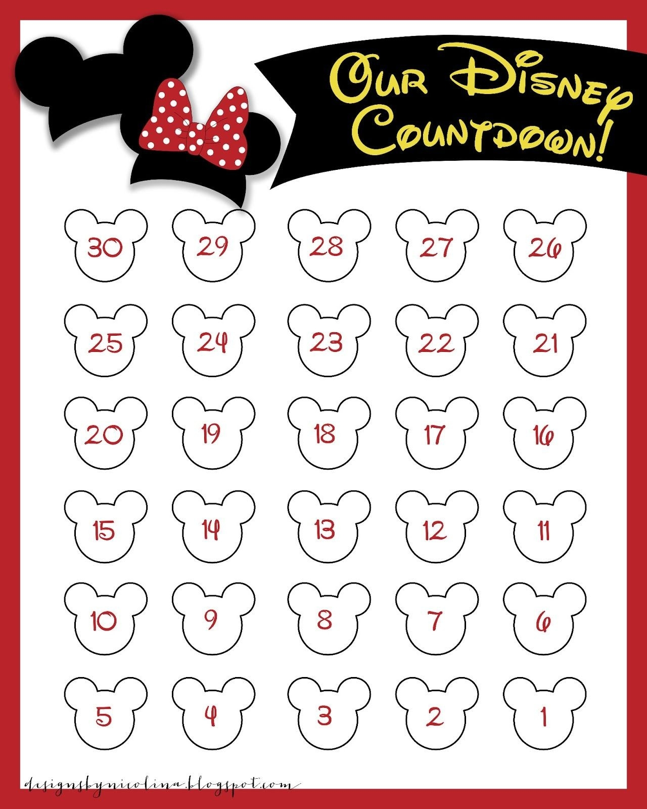 Disneyland Countdown Calendar | Designs By Nicolina: Disney-Countdown To Disney Template