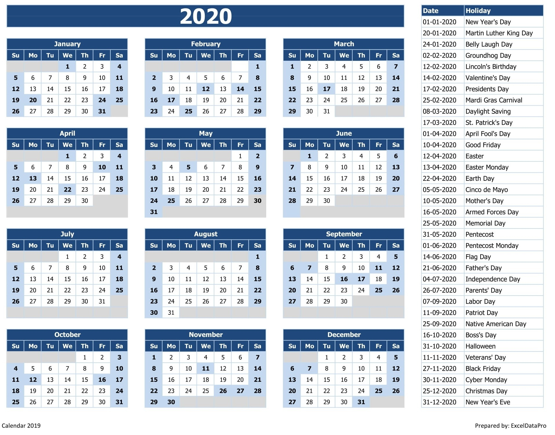 Download 2020 Yearly Calendar (Sun Start) Excel Template-List Of Holidays By Month 2020