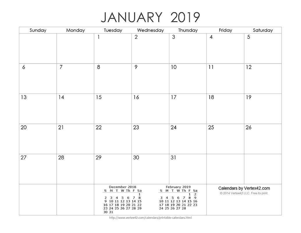 Download A Free Printable Ink Saver 2019 Calendar From-Calendar Templates By Vertex42.com