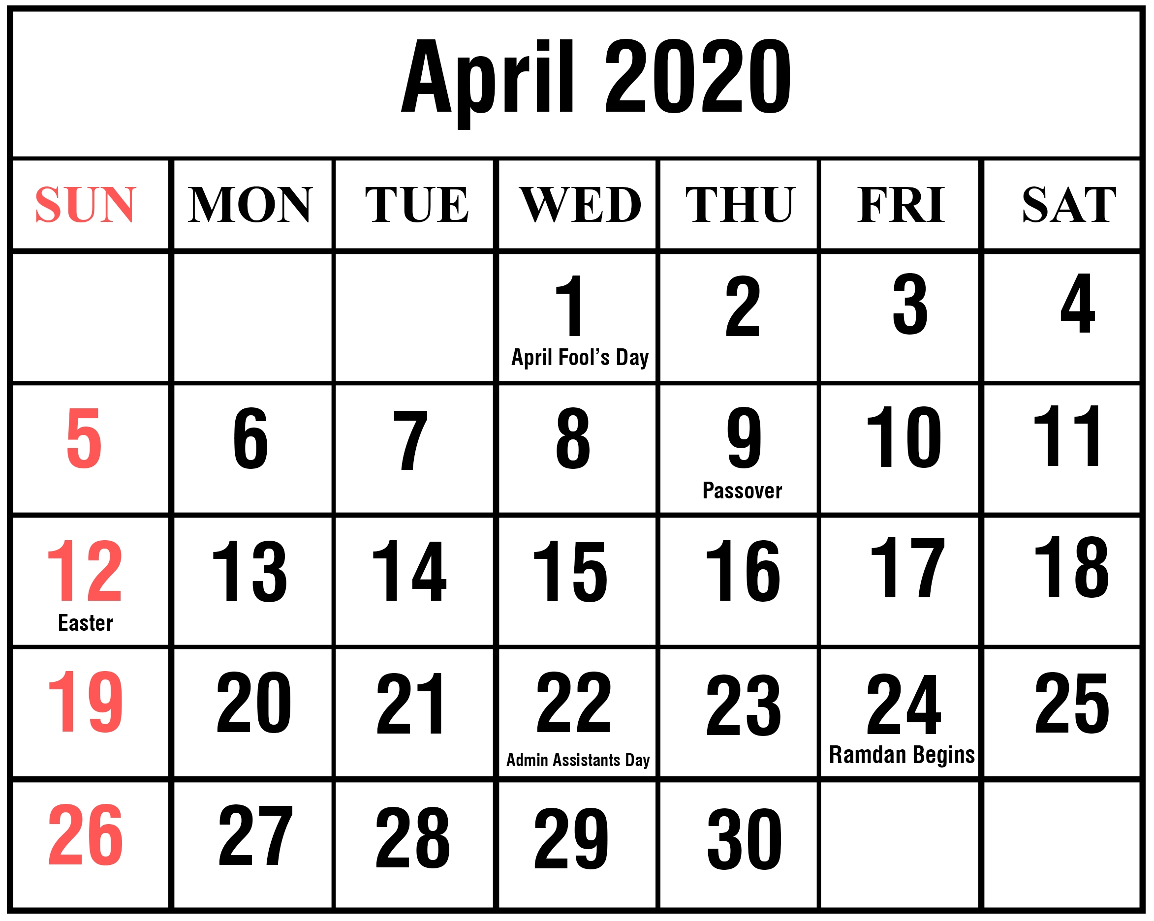 Download April 2020 Calendar Printable Templates {Pdf, Excel-Calendar Template 2020 Printable Free With Prior And Next Month