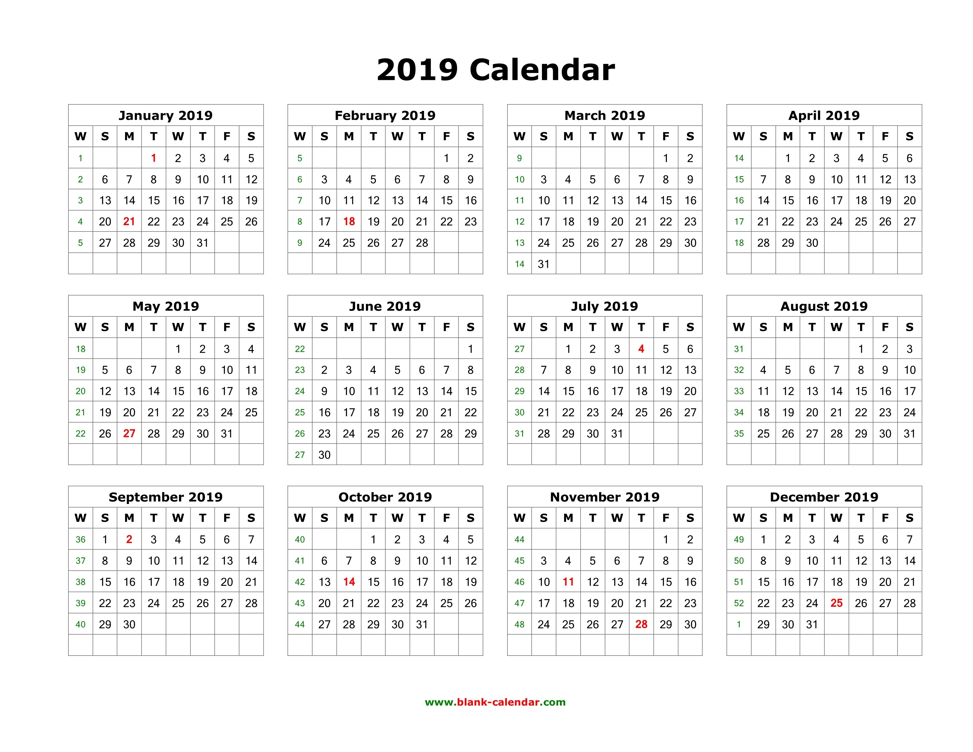 Download Blank Calendar 2019 (12 Months On One Page, Horizontal)-Blank Calendar 4 Months One Page