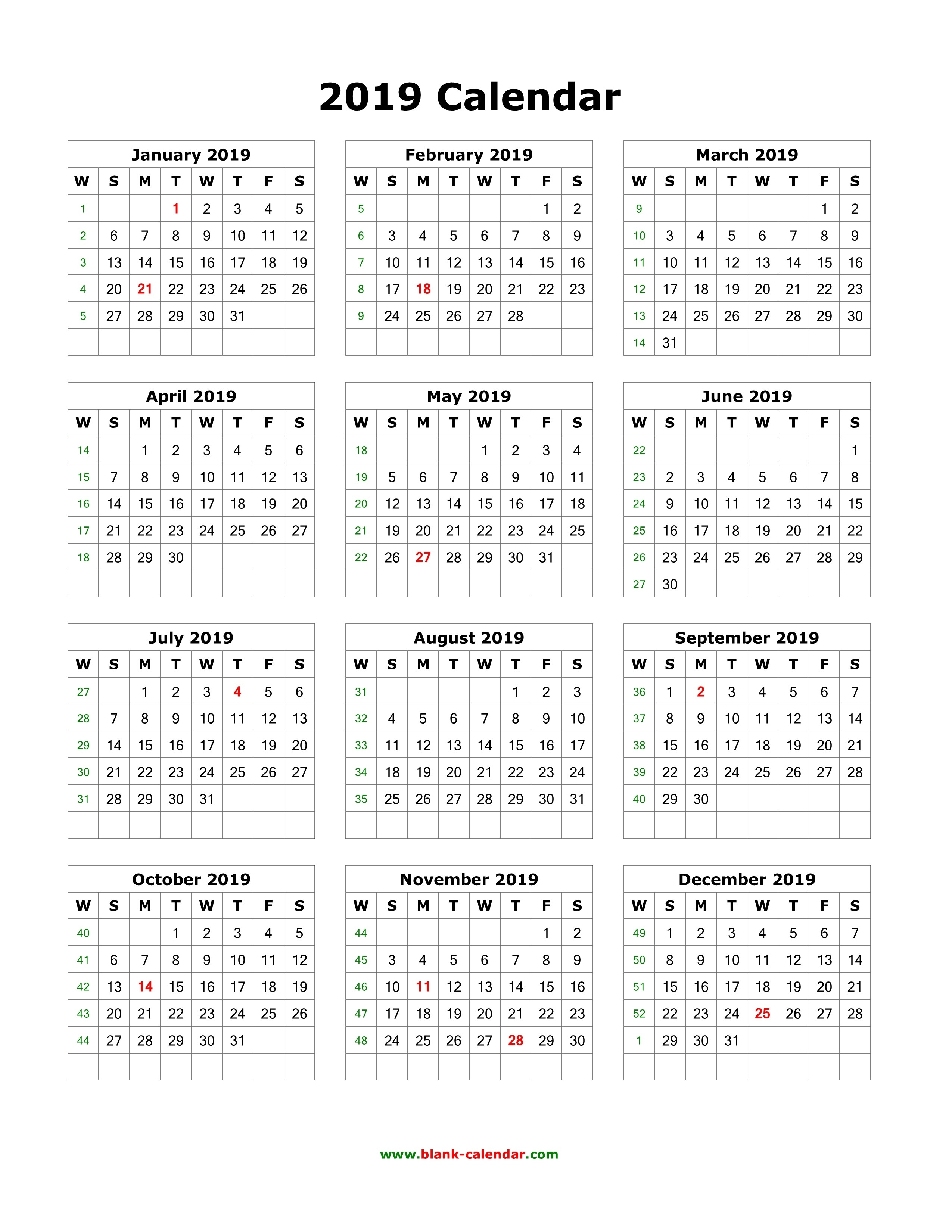 Download Blank Calendar 2019 (12 Months On One Page, Vertical)-Blank Calendar 4 Months One Page