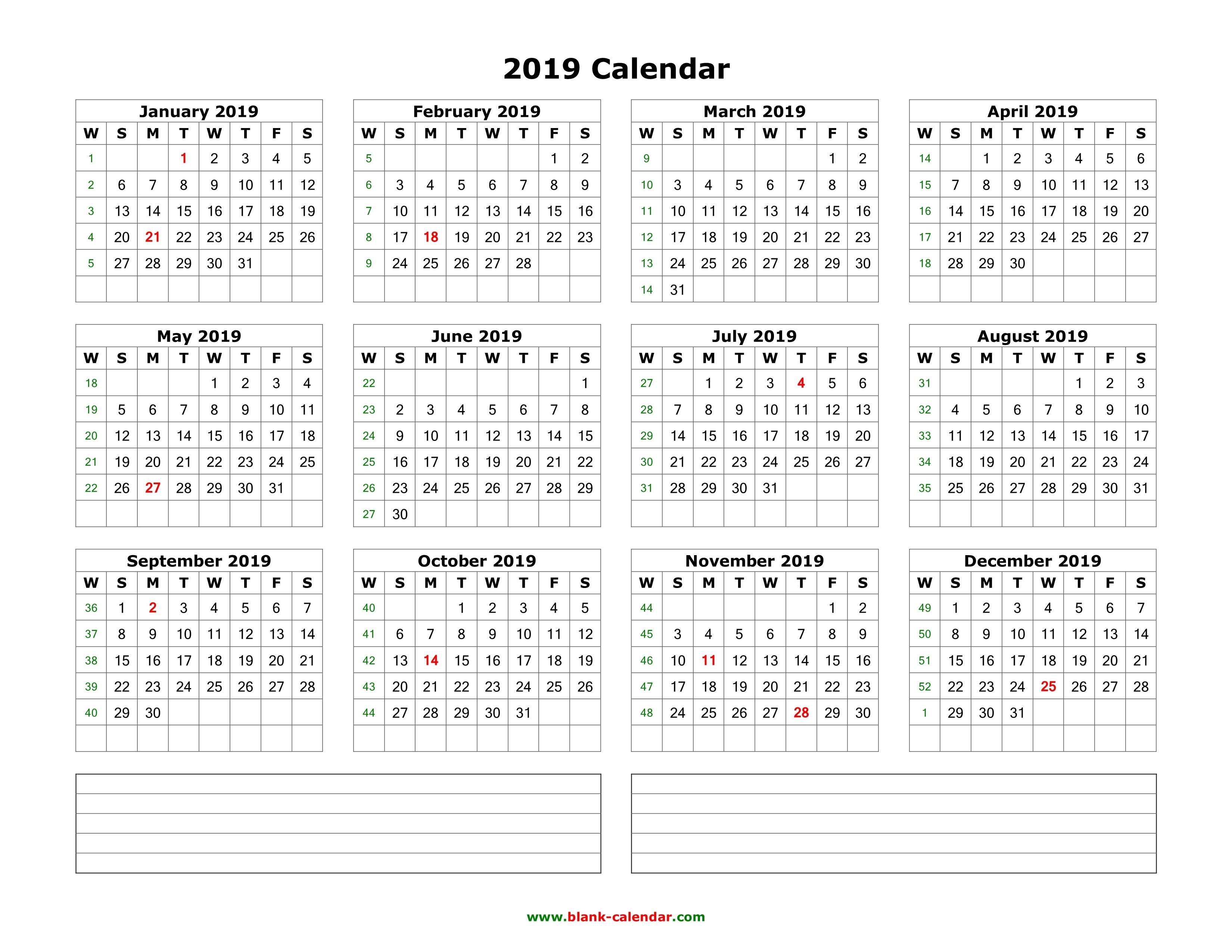 Download Blank Calendar 2019 With Space For Notes (12 Months-Blank Calendar 4 Months One Page