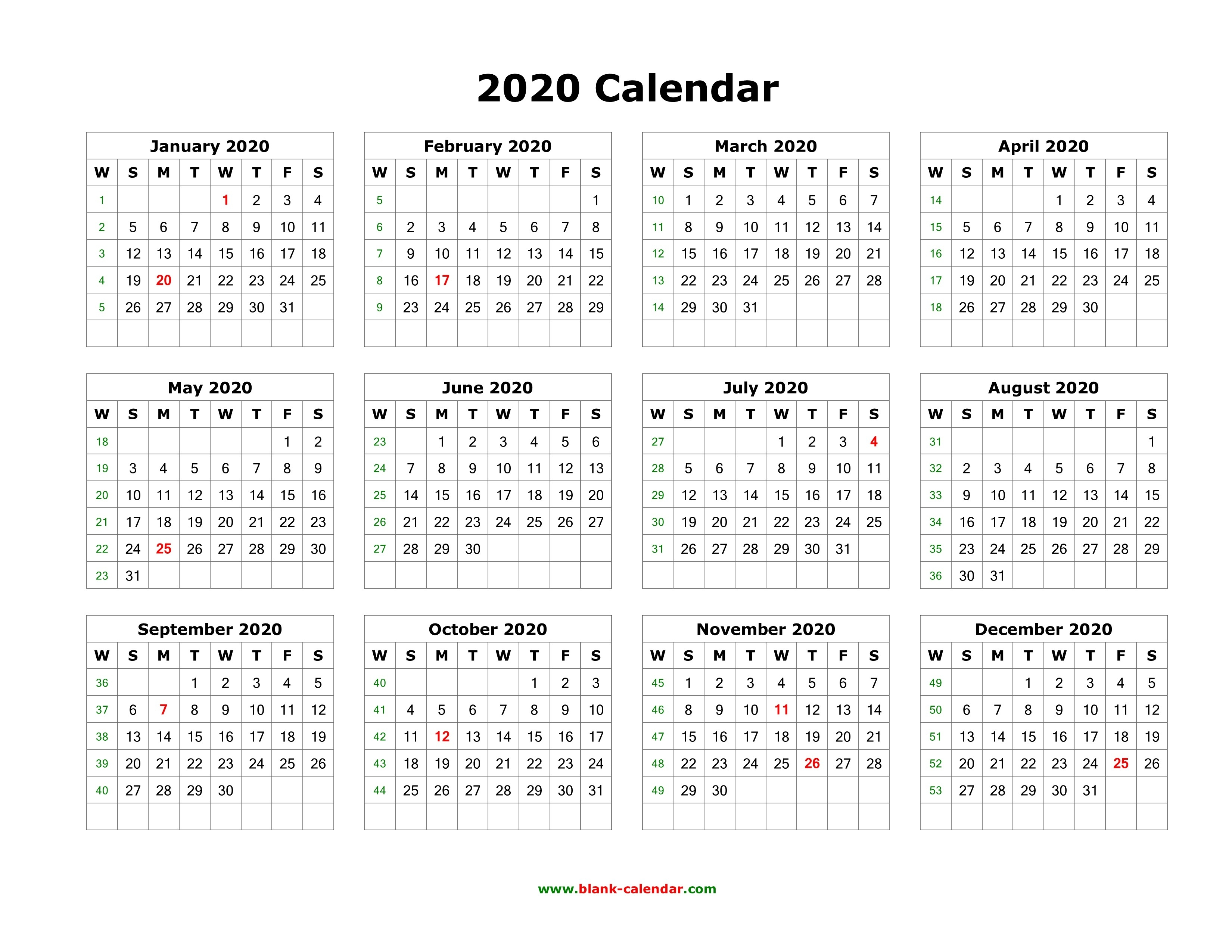 Download Blank Calendar 2020 (12 Months On One Page, Horizontal)-Blank Printable Calandes With 2 Months On A Page Year 2020