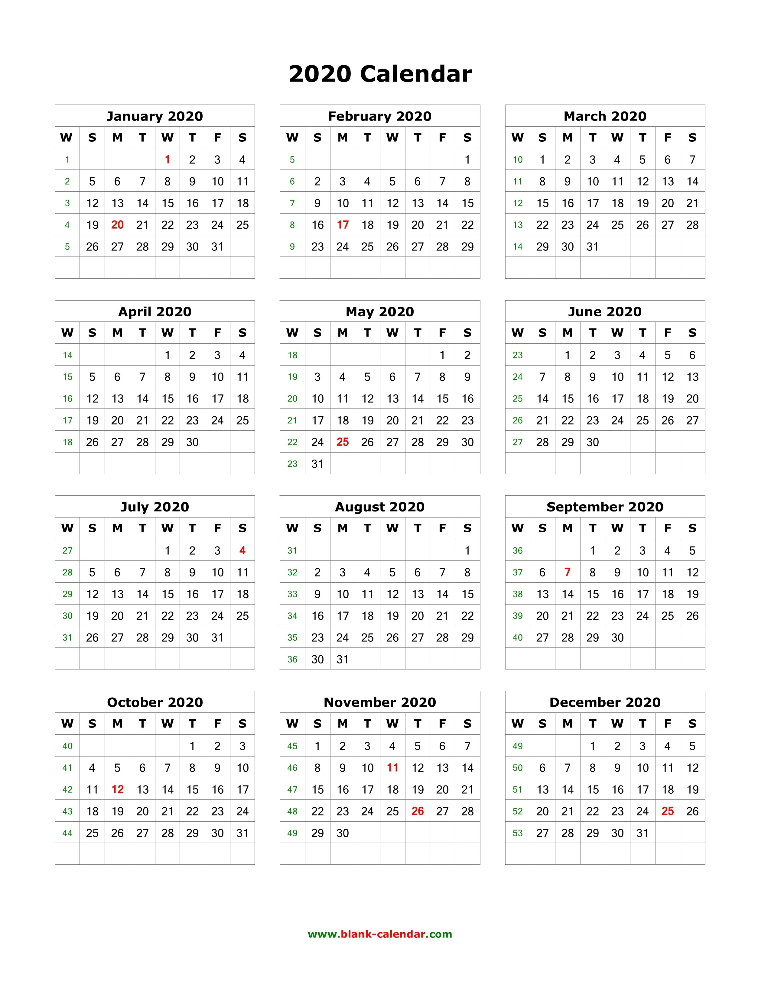 Download Blank Calendar 2020 (12 Months On One Page, Vertical)-12 Month Blank Calendar 2020 Printable