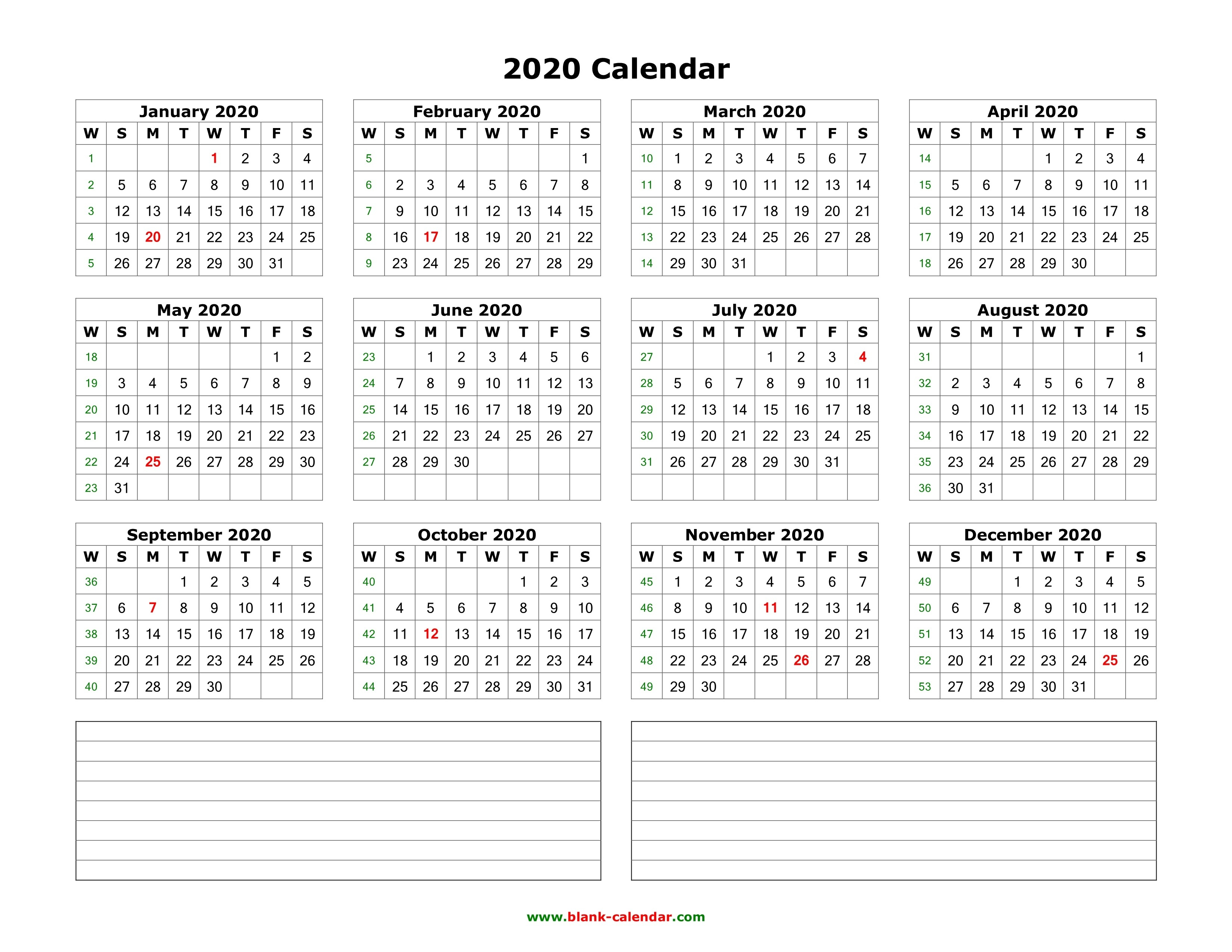 Download Blank Calendar 2020 With Space For Notes (12 Months-Blank 2 Pages Calendar 2020
