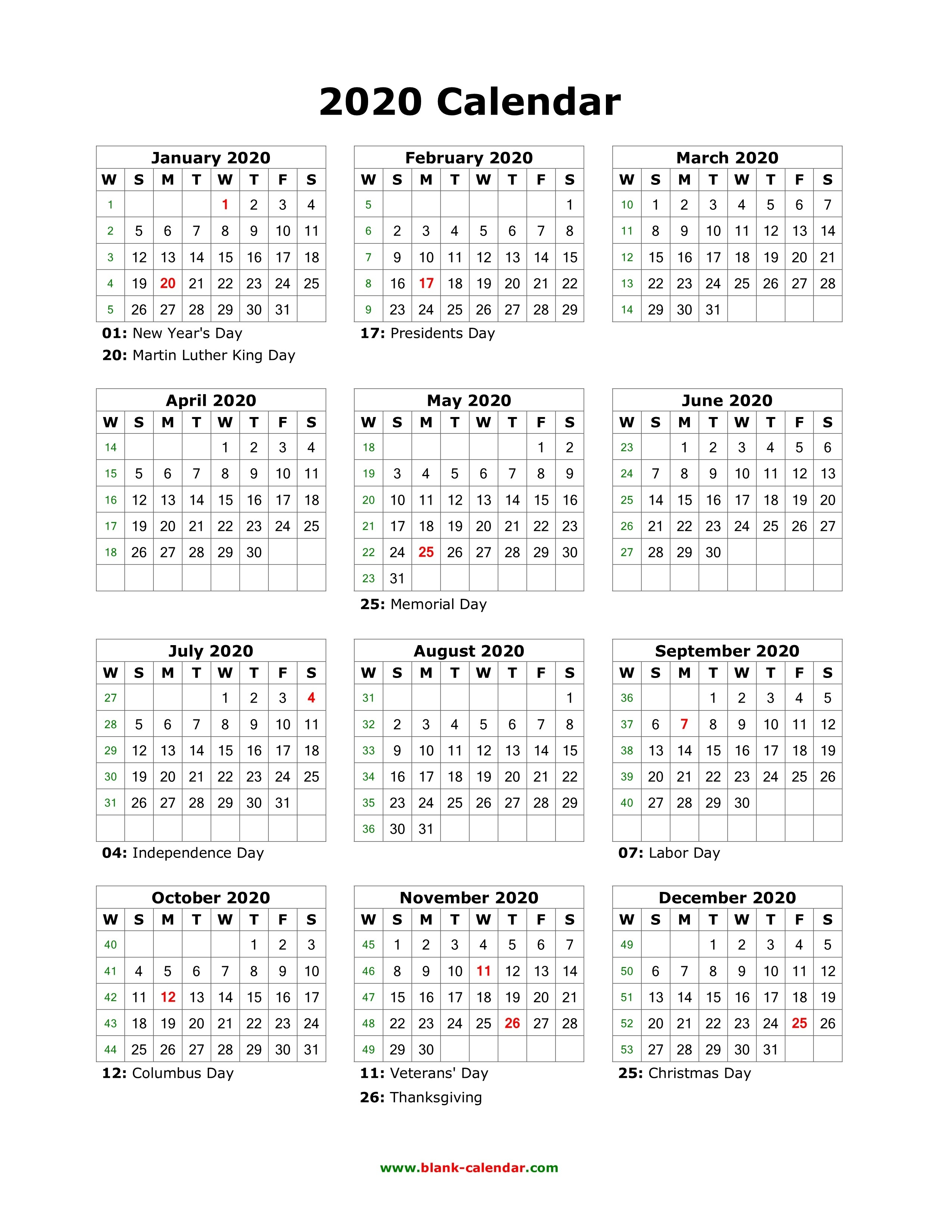 Download Blank Calendar 2020 With Us Holidays (12 Months On-Calendar 2020 Holidays Us