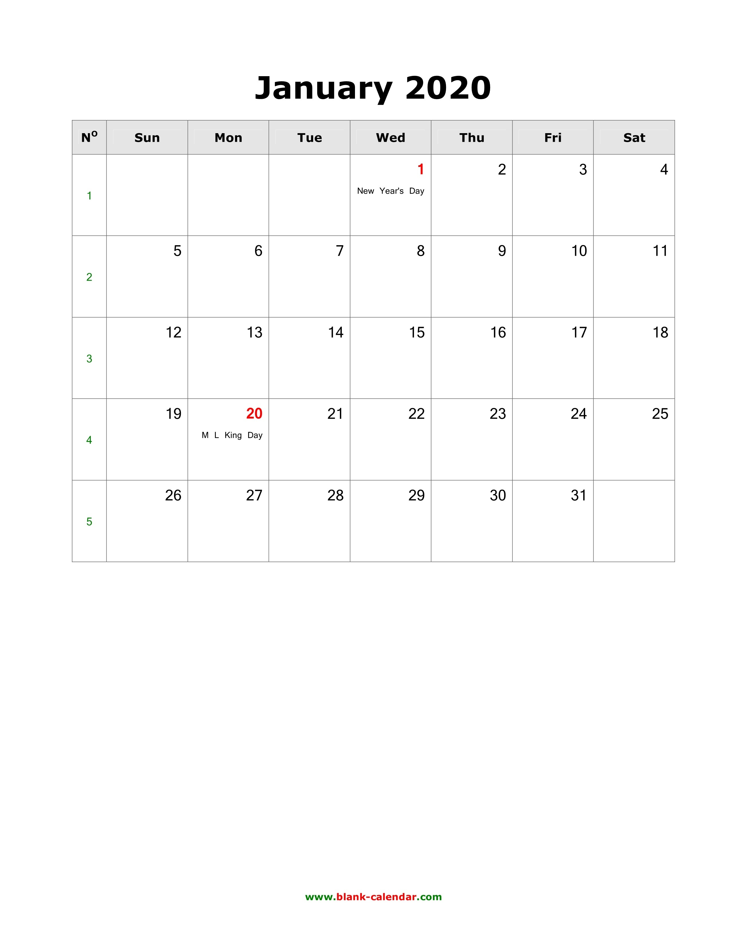 Download Blank Calendar 2020 With Us Holidays (12 Pages, One-Blank Calenday Monyh Pages