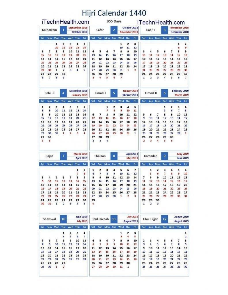 Download Calendar 2019 And Islamic Calendar 2019 / 1440-2020 Calendar Muslim Holidays