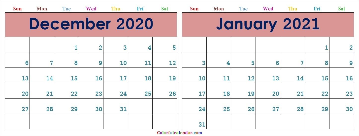 Download December 2020 January 2021 Calendar Colorful Design-December 2020 And January 2021 Calendar