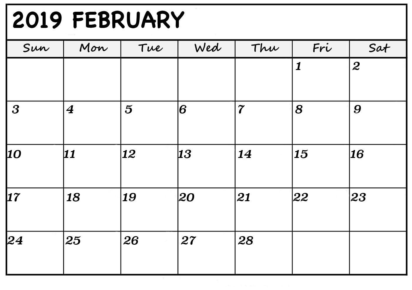 Download February 2019 Printable Calendar Pdf Excel Word-Preschool Word Excel Calendar Template