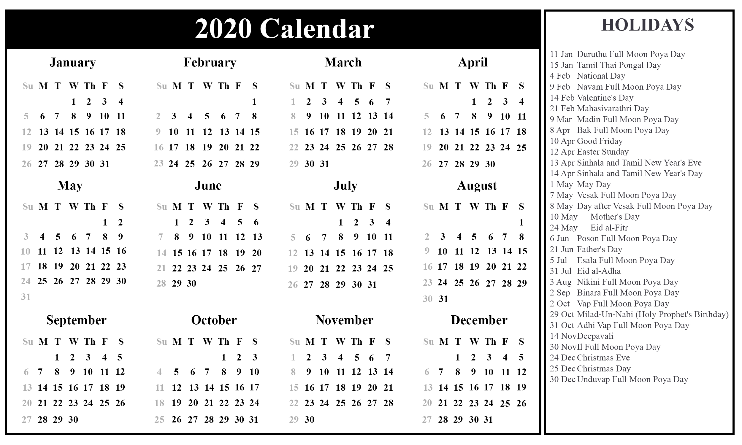 Download Free Sri Lanka Calendar 2020 In Pdf, Excel & Word-2020 Calendar With Religious Holidays