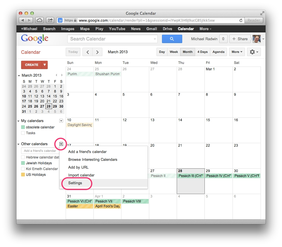Download – Google Calendar – Hebcal-Remove Holidays From Google Calendar