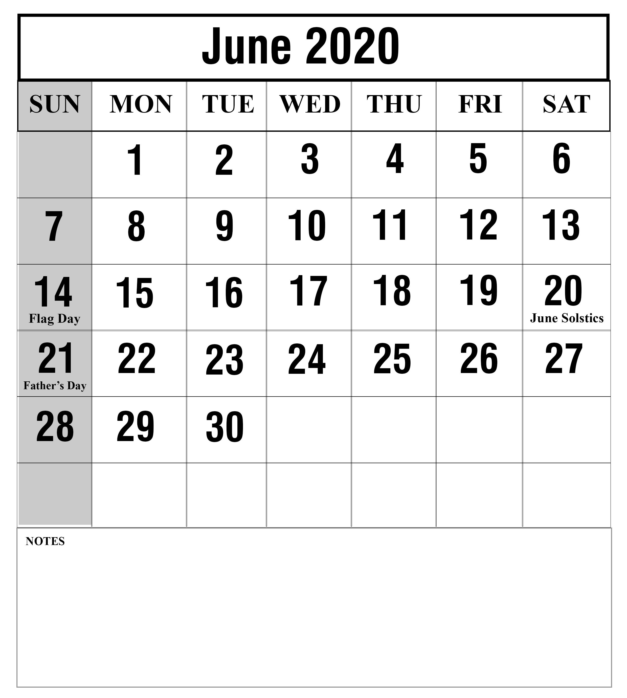 Download June 2020 Calendar Printable Templates {Pdf, Excel-Calendar Template 2020 Printable Free With Prior And Next Month