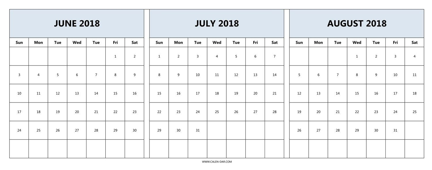 Download June July August 2018 Calendar Printable Free-Printable Blank Calendars June July August