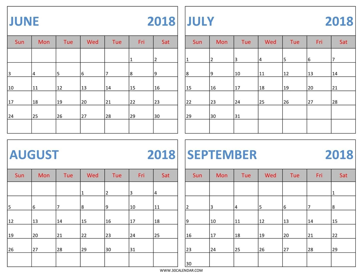 Download June July August September 2018 Calendar Template-June July August Calendar Template