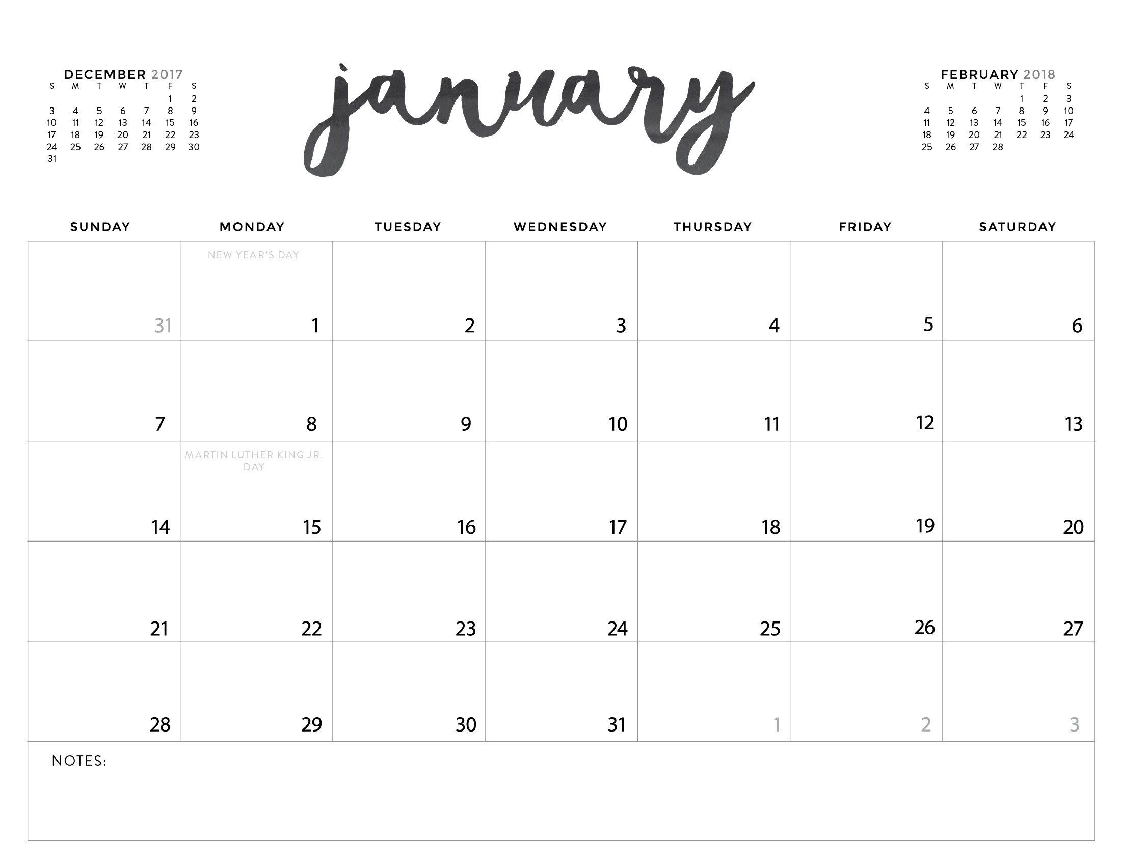 Download Your Free 2018 Printable Calendars Today! There Are-8.5 By 11 Blank Calendar Month