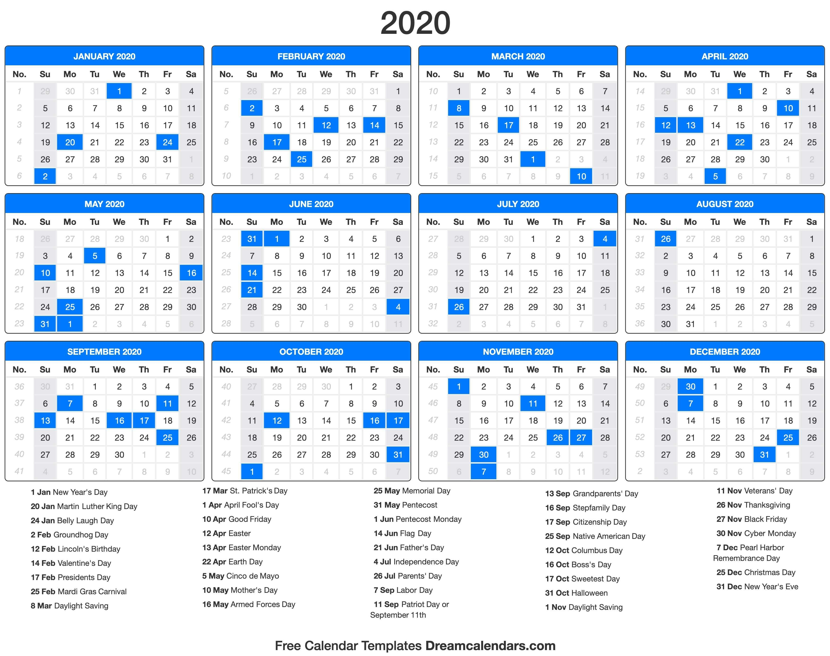 Dream Calendars - Make Your Calendar Template Blog-2020 Calendar With Holidays Inc Jewish