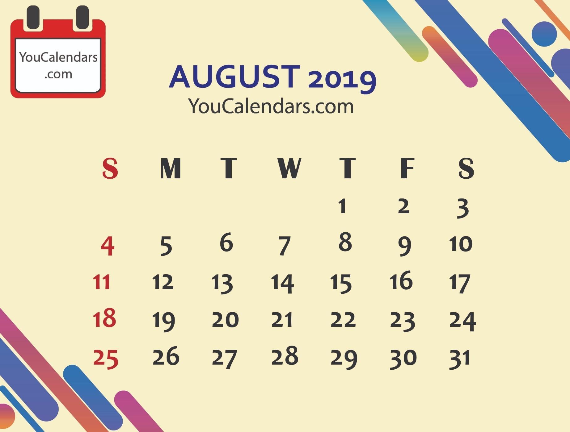 ✅Free August 2019 Calendar Printable Template - You Calendars-Us Printable Blank Calendars