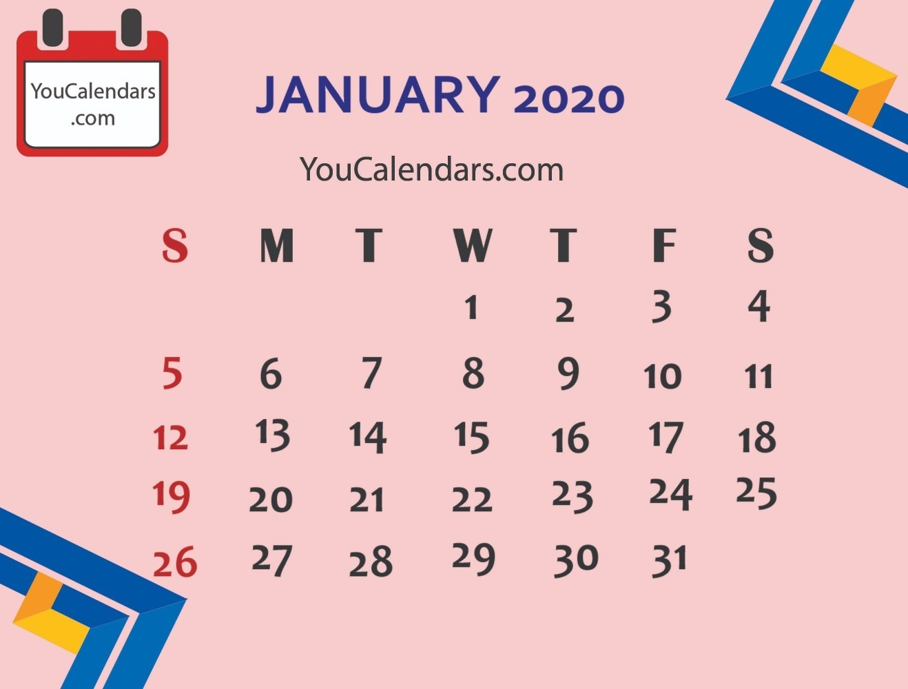 ✅Free January 2020 Calendar Printable Template - You Calendars-Cute January 2020 Calendar