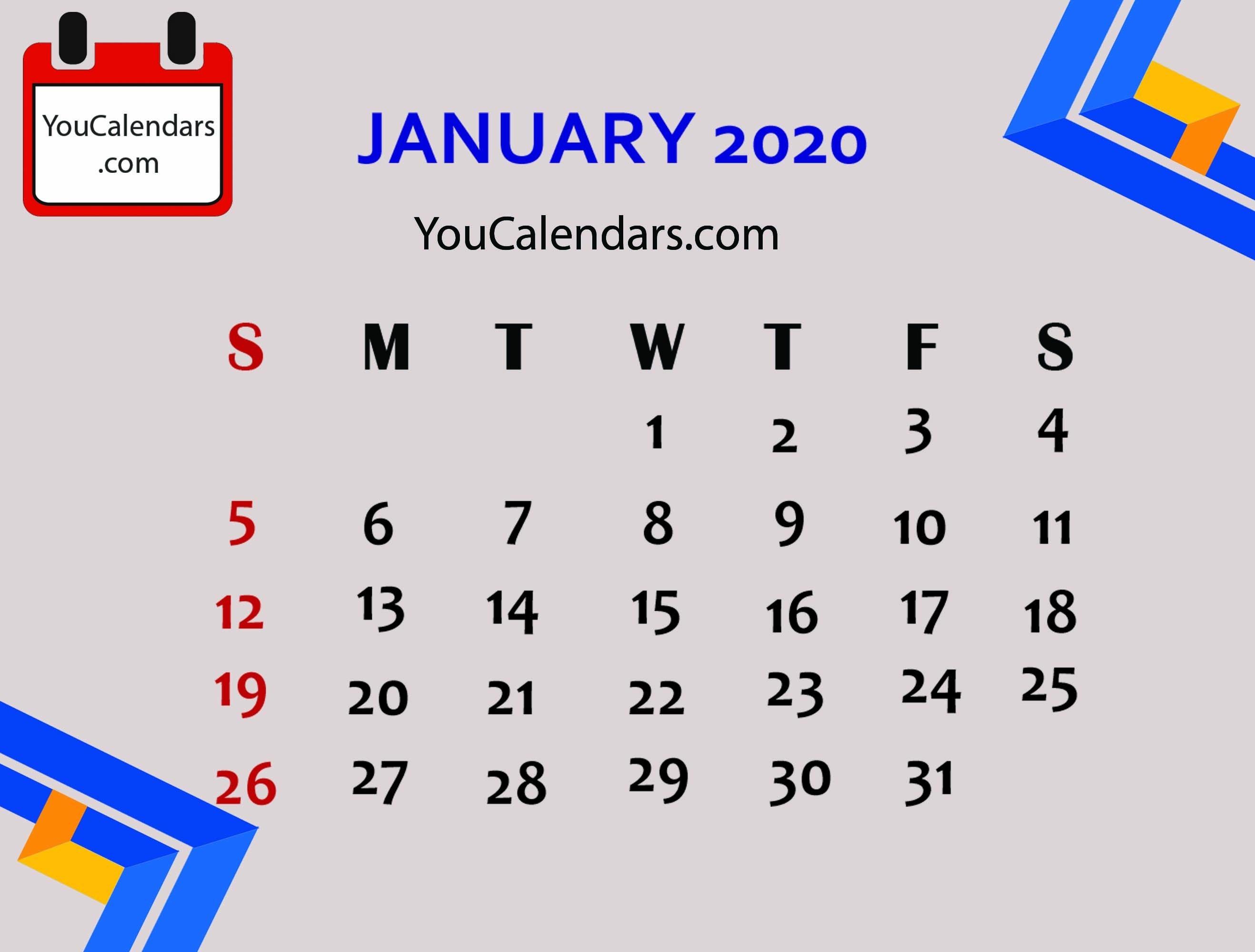 ✅Free January 2020 Calendar Printable Template - You Calendars-January 2020 Calendar Cute