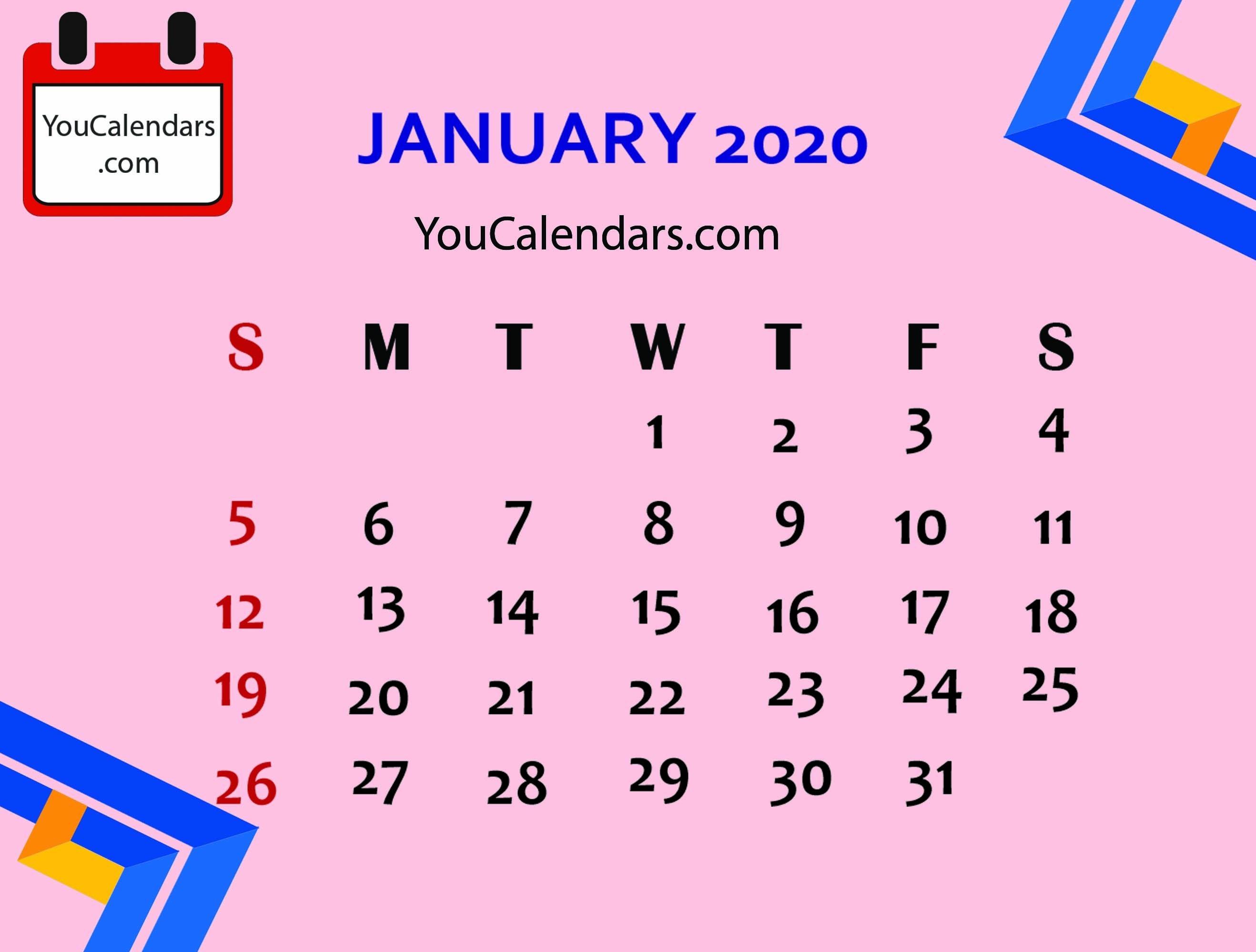 ✅Free January 2020 Calendar Printable Template - You Calendars-January 2020 Calendar Vertical
