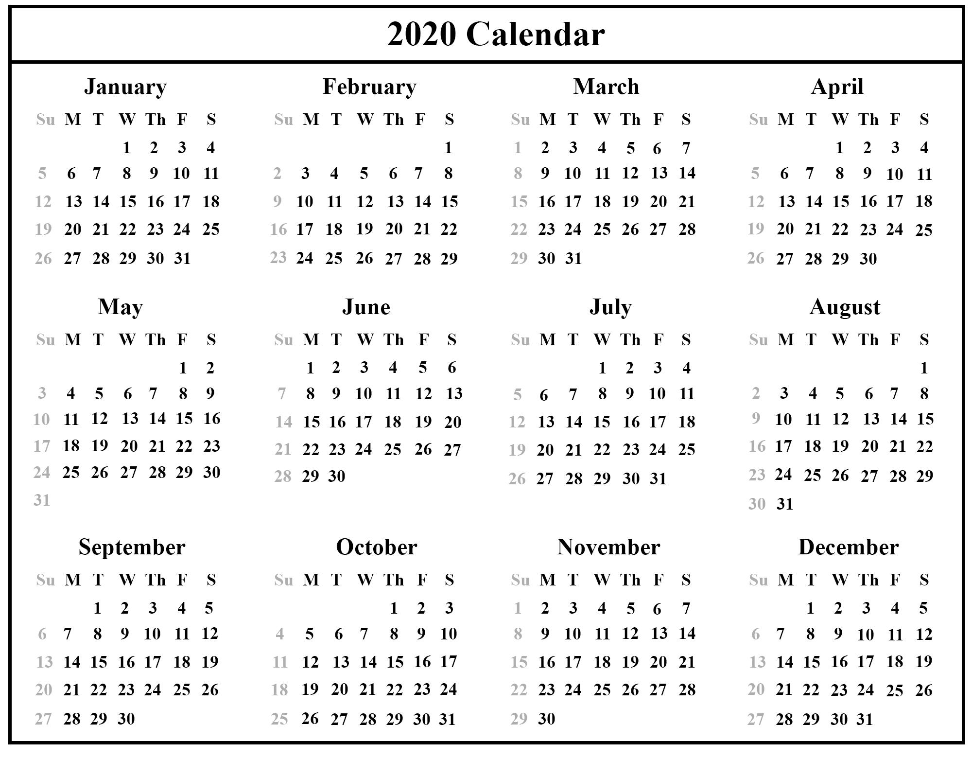 Editable 2020 Calendar Printable Template Blank With Notes-Free Printable Attendance Calendars 2020 Templates