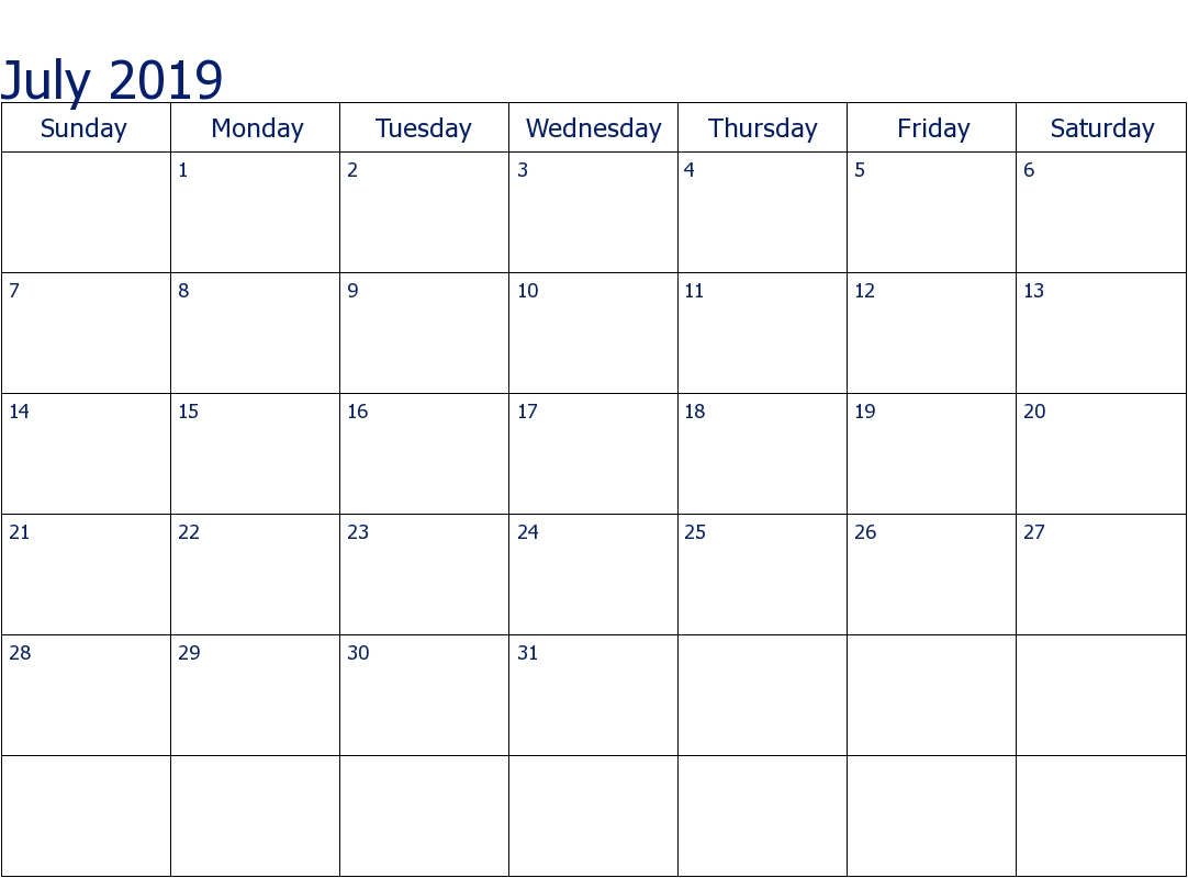 Editable July 2019 Calendar Weekly, Monthly Template-Monday To Sunday Monthly Fillable Calendar