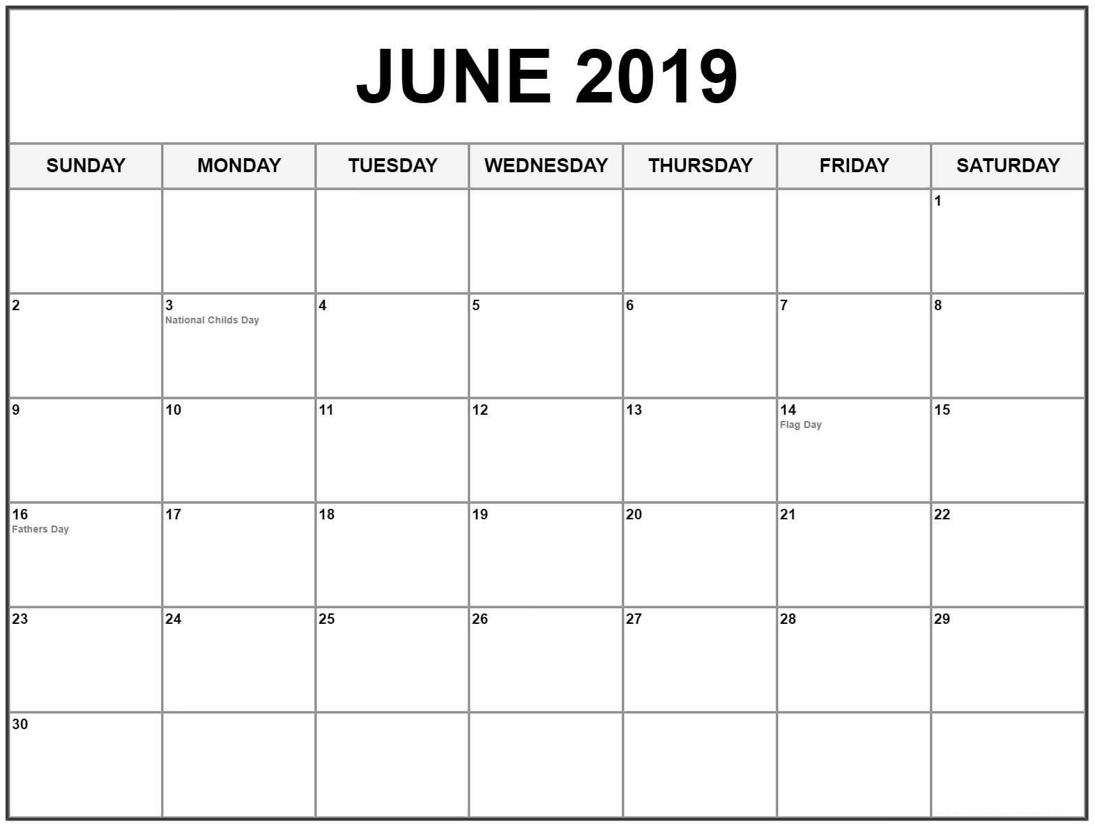 Editable June 2019 Calendar #june #junecalendar2019-Printable Blank Calendars June July August