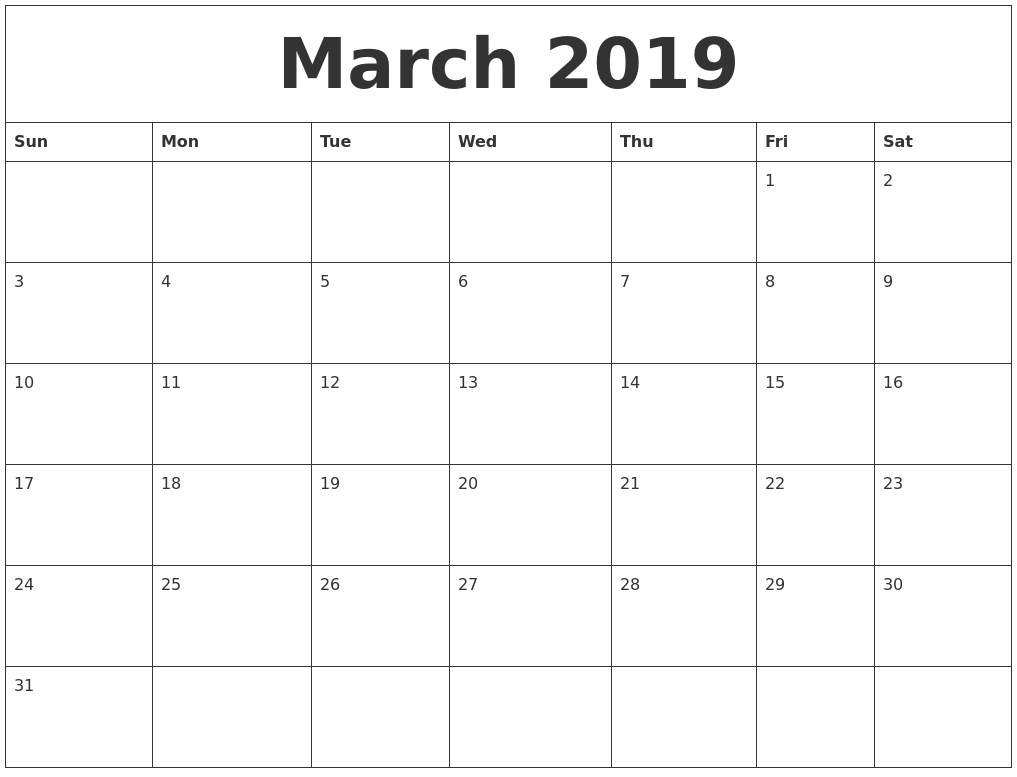 Editable March 2019 Calendar Template | 205+ Welcome Month-Calendar Word 2020 Microsoft Word Monthly